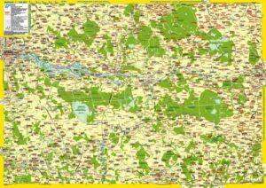 Landkarte Nord-Ostpreußens Mitte (vom Kurischen Haff bis zur polnischen Grenze)
