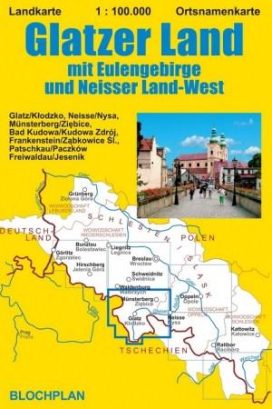 """Landkarte """"Glatzer Land"""" mit Eulengebirge und Neisser Land-West"""