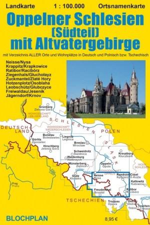 """Landkarte """"Oppelner Schlesien (Südteil) mit Altvatergebirge"""""""