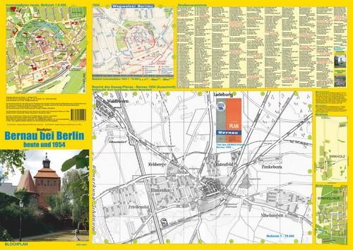 Bernau Titelseite mit Innenstadtplan und Plänen 1954