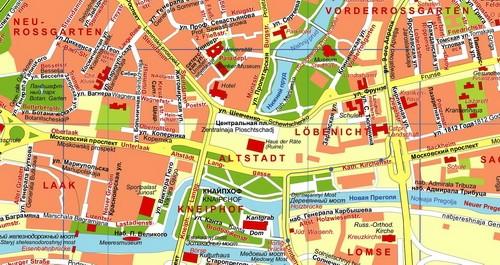 Ausschnitt aus dem Plan Kaliningrad heute